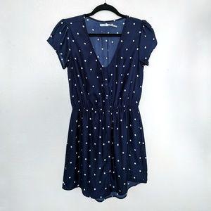 Kimchi Blue | Navy Polka Dot Button Down Dress